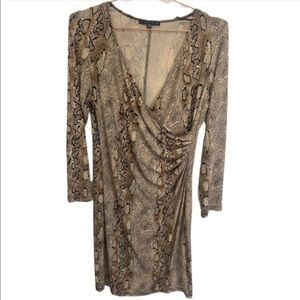 TIANA B. Women's Printed Snakeskin Dress Large tan